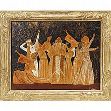 1971 encaustic painting on board depicting a dramatic classical theater performance, signed Settle