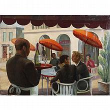 Margaret May Dashiell, (1869 - 1958), sidewalk cafe, oil on canvas, 25