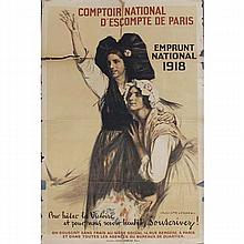 Auguste Leroux French WWI poster: Comptoir National D'Escompte De Paris- Embrunt National 1918.