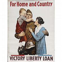 Three WWI posters: Two identical by Alfred Everitt Orr (American, b. 1886) 'For Home and Country, Victory Liberty Loan', c. 1918.