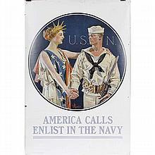 J.C. Leyendecker USN WWI poster: 'America Calls, Enlist in the Navy'.