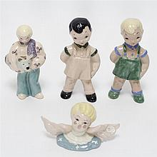 Four Kay Finch California Art Pottery figures. Three people and one angel.
