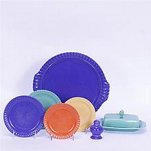 Six Art Pottery pieces; Vistosa plates & shaker, & Riviera butter dish (base chipped).