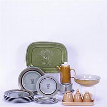 Fifteen Franciscan Art Pottery pieces; Emerald Isle plates, Topaz Coffee pot, Wheat O/V set, platters, & bowl.