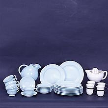 Thirty Two Franciscan Satin glaze Art Pottery pieces;