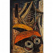 Edmund Brucker, (American, 1912-1999), boats and dock, oil on masonite board, 42