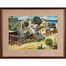Henry Martin Gasser, (American; 1909-1981), Regionalist scenic landscape, gouache on paper, 15 1/2