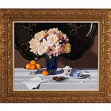 Chris Thomas, (American; b.1970), still life with peonies and fruit, oil on panel, 24