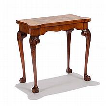 English walnut game table, late 19th Century style;