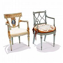 Two French Neoclassical / Directoire style arm chairs.