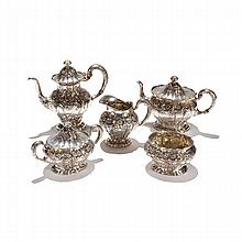 Unger Brothers sterling silver Dogwood pattern tea set, 5 piece.