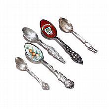 Lot of 5 sterling Souvenir spoons, Florida, Arkansas, Louisiana