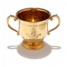 Tiffany & Co. Makers sterling vermeil horse racing armorial trophy cup for San Fernando Stakes, Santa Anita Park.