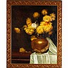 F.V.W. Clarke, (late 19th/ early 20th Century), large floral still life with mums, oil on canvas, 49