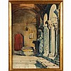 Manner of John Singer Sargent, Venice architectural interior, watercolor, unsigned,
