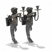Pair 19th Century French Empire architectural candle sconces with figures of mythological satyr cherubs.