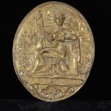 Republique Francaise brass repousse architectural medallion plaque