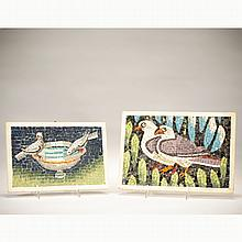 Lot of 2 Italian glass mosaic pictures;