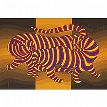 Victor Vasarely, (France/Hungary; 1906-1997), Tiger, Silkscreen print on paper, 30