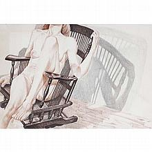 Philip Pearlstein, (New York; b.1924), Nude in Rocking Chair, 1977, Lithograph, 30
