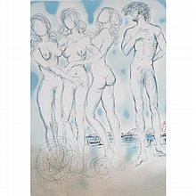 Salvador Dali, Spanish, 1904-1989, Judgment of Paris, Lithograph on paper, 31 1/2