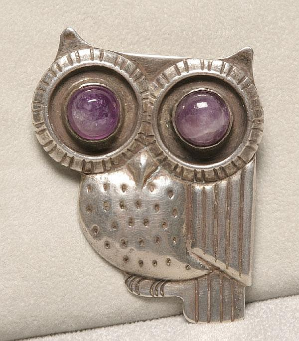 Wm Spratling Mexican Silver Owl Brooch Amethyst