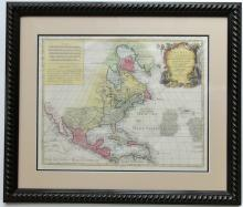 America Septentrionalis by Lotter, featuring California as an island, 1760, Custom Framing