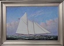 Schooner Ship, Oil Painting by D. Tayler