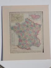 Antique Map of France (Paris, Corsica) by Augustus Mitchell, 1858