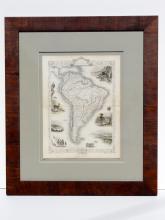 South America Map by Tallis, Valparaiso, Rio Janeiro, Brazilian bridge, 1851, custom framed