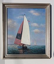 Sunset Sail, Original Oil Painting by D. Tayler