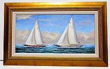 America's Race, Original Oil Painting by D. Tayler