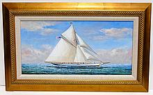 Full Sail, Original Oil on canvas by D. Tayler