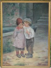 The Secret, Two Children, Oil Painting circa 1900