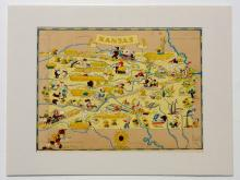 Map of Kansas, Gay Geography, 1935 (Unusal & Whimsical)