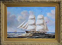 American Clipper Ship, Oil Painting by D. Tayler