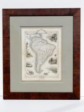 Map of South America by Tallis, Valparaiso, Rio Janeiro, Brazilian bridge, 1851 displayed in custom framing