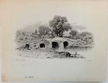 Stone Bridge Etching, Signed by artist J. Marsh, Circa 1920