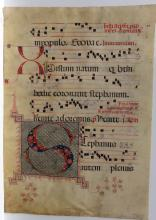 17th-C. Antiphonal Vellum Illumination Music Sheet, Four Line, Circa 1600