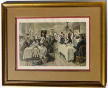 The Restaurant of the House of Representatives, Washington, DC, Original Print, Harper's Weekly, circa 1890 (Custom Framed)