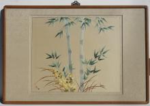 Asian Embroidery of Bamboo Flower, Framed with ornamental hanging hook