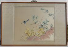 Asian Embroidery of Bamboo & Blue Bird, Framed with ornamental hanging hook