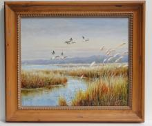 Afternoon Pass, Mallard Duck over bay Oil Painting