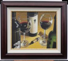 Wine Bottle & Glasses Still Life of Painting, Dark Wood Frame