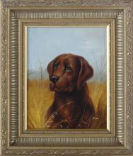 Chocolate Labrador Dog, Framed Oil Painting