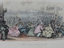 Masquerade ball at the opera, Original Antique Engraving, circa 1843