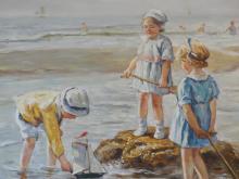 Beginning Sailors, Children on beach, Original Oil Painting, Custom Framed
