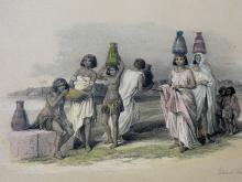 Nubian Women at Korti, Egypt on the Nile River, Lithograph by David Roberts, C. 1855