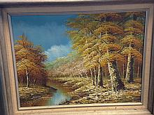 OIL ON CANVAS SIGNED BY EUGENE KINGMAN - AUTUMN SCENE