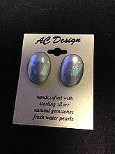 Artisan AC Design handcrafter sterling silver oval earrings with natural mother-of-pearls